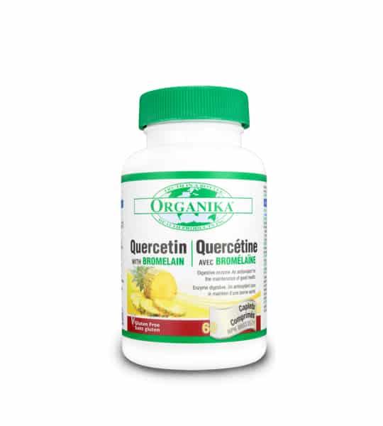 White bottle with green cap of Organika Quercetin 400mg OHP Quercetin Bromelain 60-Capsules
