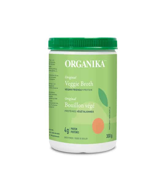 Green container of Organika Veggie Broth vegan friendly protein contains 300g