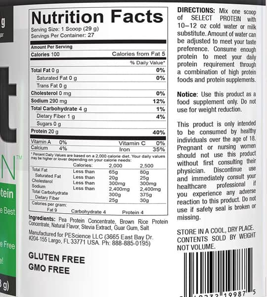 Nutrition facts and ingredients panel of PEScience Select Vegan Protein for serving size of 1 scoop (29g)