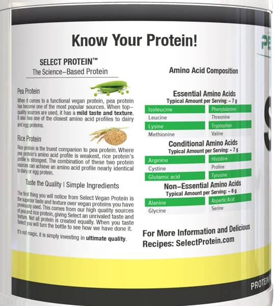 Facts panel of PEScience Select Vegan Protein 2lbs