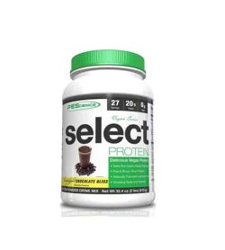 White container with green cap of PEScience Select Protein with Chocolate Bliss falvour contains 2lbs