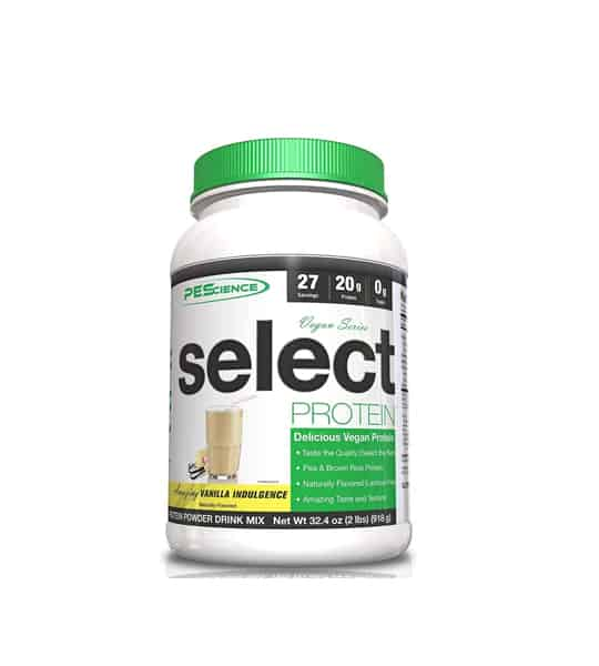White container with green cap of PEScience Select Protein with Vanilla Indulgence flavour contains 2lbs
