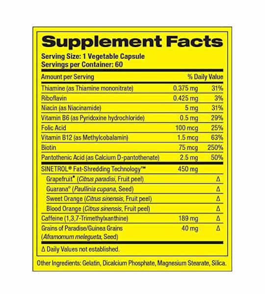 Supplement facts and ingredients panel of PharmaFreak Ripped Freak 2.0 60 Caps