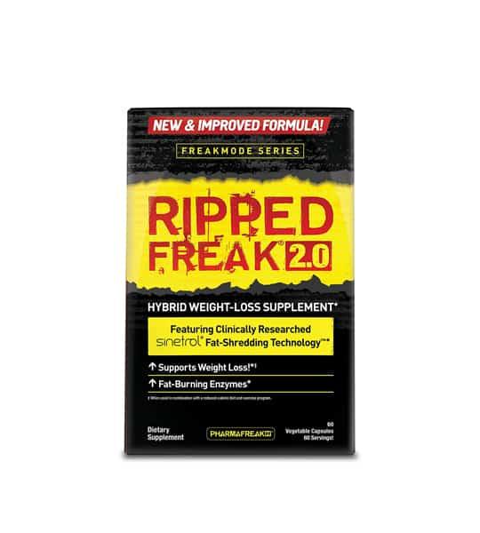 Black and yellow label of PharmaFreak Ripped Freak 2.0 Hybrid Weight-Loss Supplement 60-Caps