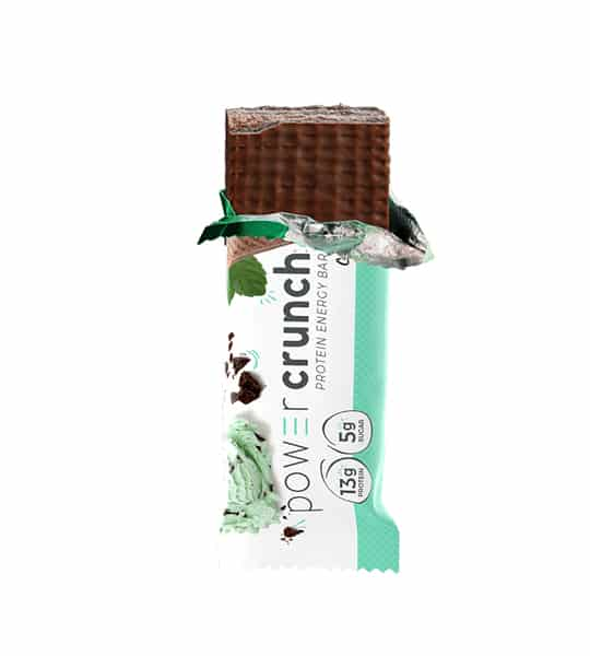 One Power Crunch Protein Energy Bar with its partially opened white and green package