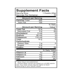 Supplement facts panel of Power Crunch Protein Energy Bar for a serving size of 1 cookie (40 g) with 12 servings per container