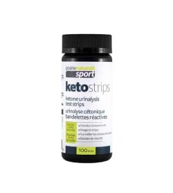 White and black container of Prarie Naturals Keto Strips ketone urinalysis test strips contains 100 Strips