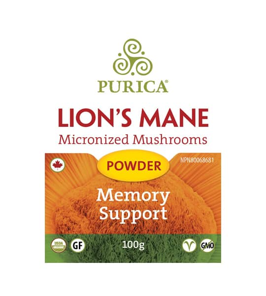 Orange and green label of Purica Lion's Mane Micronized Mushroom Powder Memory Support contains 100 g