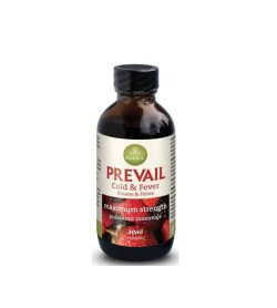 Brown bottle with black cap of Purica Prevail cold & fever maximum strength contains 30ml