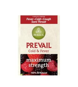 Yellow and red label of Purica Prevail cold & fever maximum strength 100% all natural