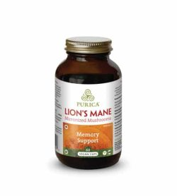 Brown bottle with shiny lid of Purica Lion's Mane Micronized Mushrooms Memory Support contains 60 vegan caps