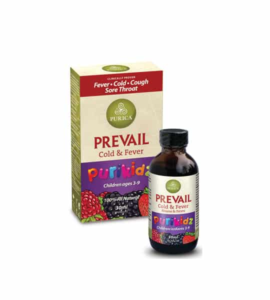 Green and red box shown with brown bottle of Purica Organic Prevail Cold & Fever Lion's Mane Purikidz