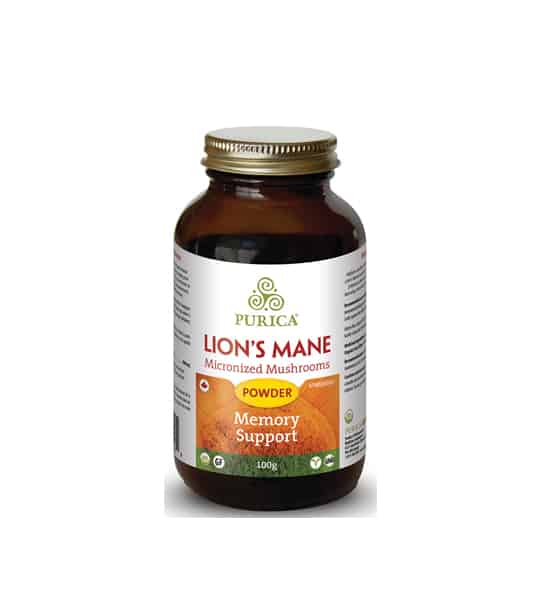 Brown bottle with gold cap of Purica Organic Lion's Mane Micronized Mushrooms Powder Memory Support contains 100 g