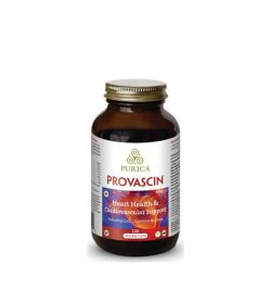 Brown bottle with gold cap of Purica Provascin Heart Health & Cardiovascular Support 120 Vegan Caps