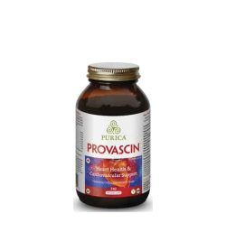 Brown bottle with gold cap of Purica Provascin Heart Health & Cardiovascular Support 240 Vegan Caps