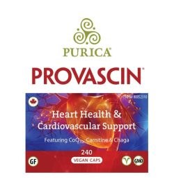 Blue and red front label of Purica Provascin Heart Health & Cardiovascular Support 240 Vegan Caps