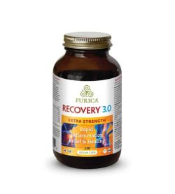 Brown bottle with gold cap of Purica Recovery 3.0 Extra Strength Rapid Inflammation Relief & Healing 120 vegan caps