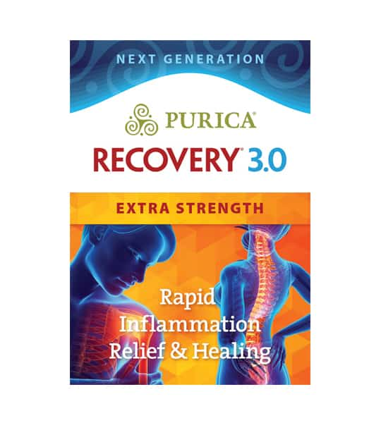 Blue and orange front label of Purica Recovery 3.0 Extra Strength Rapid Inflammation Relief & Healing 120 vegan caps