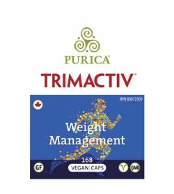 Blue and white front label of Purica Trimactiv Weight Management 168 Vegan Caps