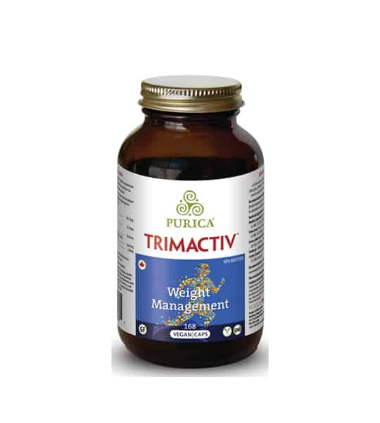 Brown bottle with gold cap of Purica Trimactiv Weight Management 168 Vegan Caps