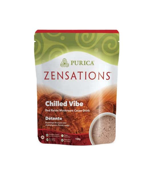 Green and brown package of Purica Zensations Chilled Vibe Red Reishi Mushroom Cacao Drink contains 150g