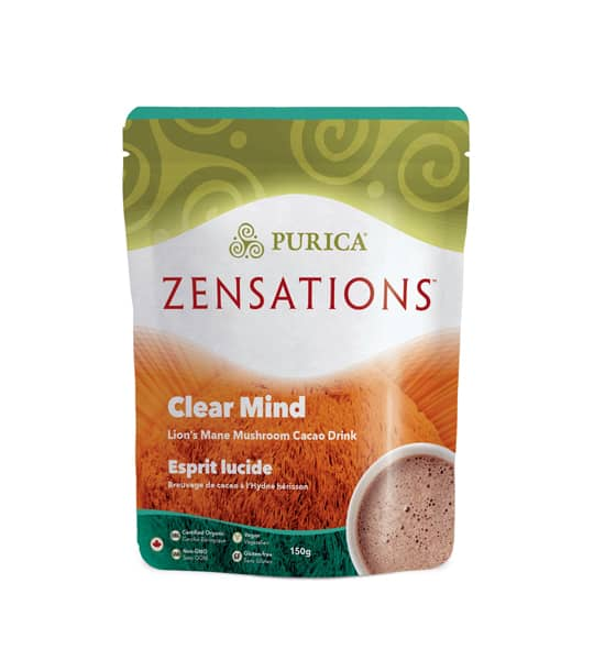 Green and brown package of Purica Zensations Clear Mind Lion's Mane Mushroom Cacao Drink contains 150g