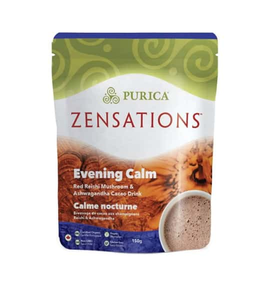 Green and brown package of Purica Zensations Evening Calm Red Reishi Mushroom & Ashwagandha Cacao Drink