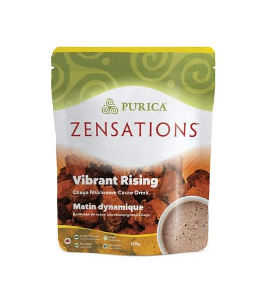 Green and brown package of Purica Zensations Vibrant Rising Chaga Mushroom Cacao Drink contains 150g