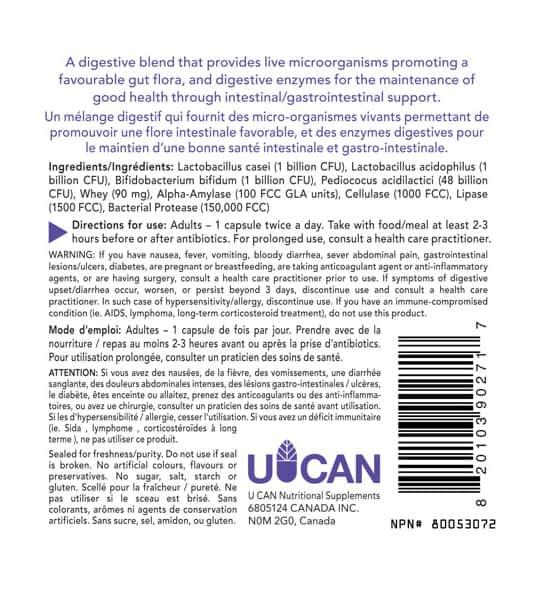 Ingredients panel of Silver Lining Pre-Probiotics 120 Caps