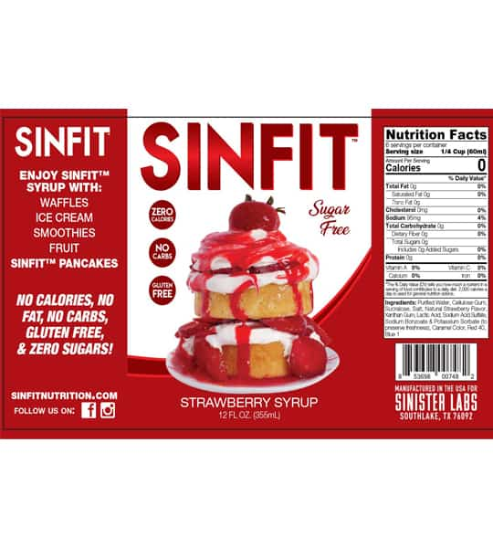 Nutrition facts panel of Sinfit Strawberry Syrup 12 oz