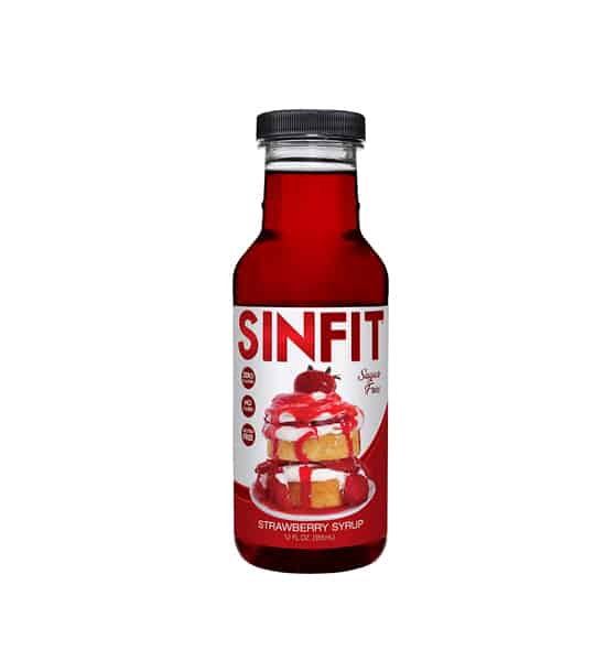 Red bottle of Sinfit Strawberry Syrup contains 12 oz shown in white background