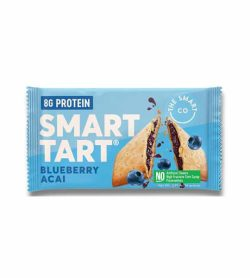 One blue pouch of Smart Tart with blueberry acai flavour contains 8g protein