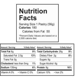 Nutrition facts panel of Smart Tart Blueberry Acai for a serving size of 1 pastry (56 g)