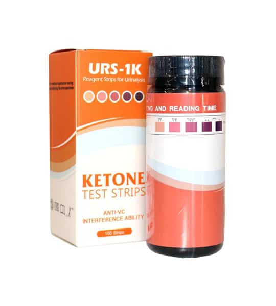 A bottle shown outside it's package of URS-1K Regeant strips for urinalaysis contains 100 strips with Anti-VC interference ability
