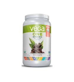 White and green container of Vega One Organic All-In-One Shake with chocolate flavour