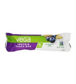 One purple and white pouch of Vega plant based protein snack bar with blueberry oat flavour