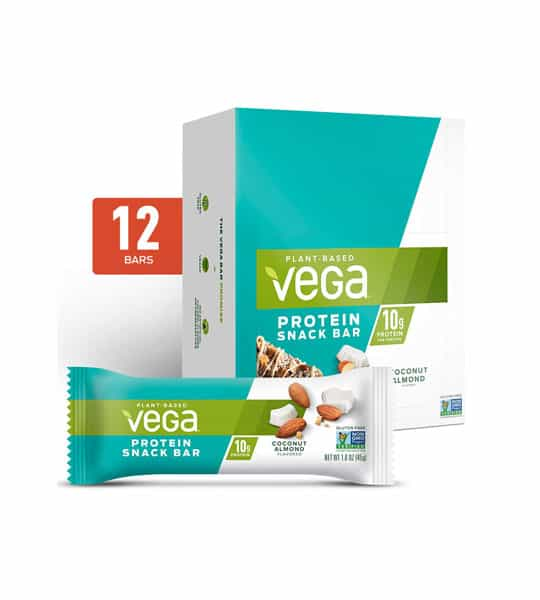 White and aqua box along with a pouch of Vega plant based protein snack bar with coconut almond flavour