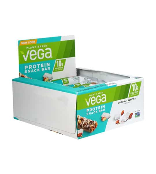 White and aqua box shown open of Vega plant based protein snack bar with coconut almond flavour contains 10g protein per serving