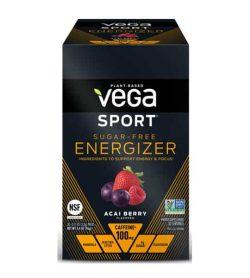 Black box of Vega Sport Sugar Free Energizer with Acai Berry flavour contains 100 mg caffeine