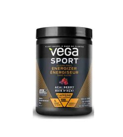 Black container of Vega Sport Sugar Free Energizer with Acai Berry flavour contains 100 mg caffeine