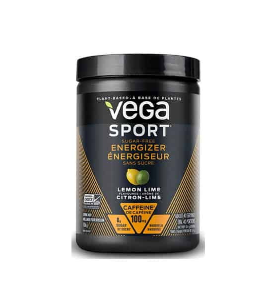 Black container of Vega Sport Sugar free Energizer with Lemon Lime flavour with 100 mg caffeine