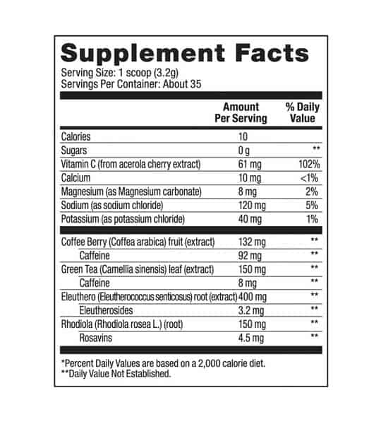 Supplement facts panel of Vega Sport Energizer Sugar FREE 45 for serving size of 1 scoop (3.2 g)