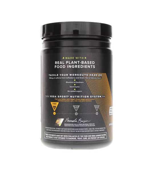 Black container showing back side of Vega Sport Energizer Sugar FREE 45 Serving