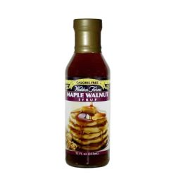 Red bottle with gold cap of Walden Farms Maple Walnut Syrup Calorie Free contains 355 ml