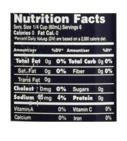Nutrition facts panel of Walden Farms Maple Walnut Syrup 355ml for serving size of 1/4 cup (60 ml)