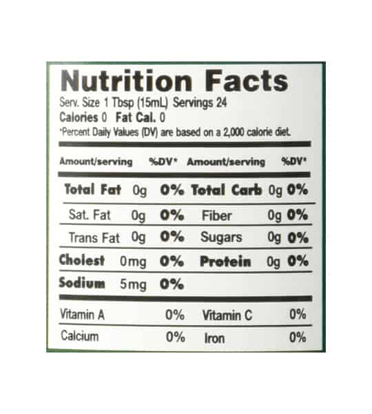 Nutrition facts panel of Walden Farms Original Creamer 355mL
