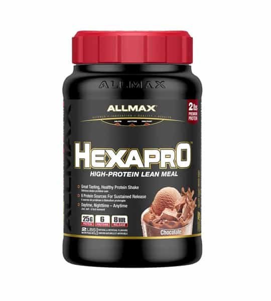Black container with red cap of Allmax Hexapro high-protein lean meal with Chocolate flavour contains 2 lbs