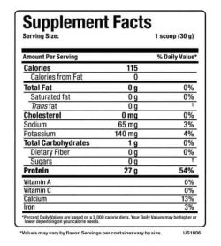 Supplement facts panel of Allmax Nutririon Hexapro for a serving size of 1 scoop (30 g)