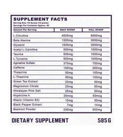 Supplement facts panel of ammunition nutraceuticals nitrofuel
