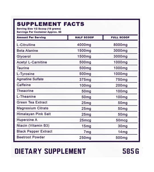 Supplement facts panel of ammunition nutraceuticals nitrofuel
